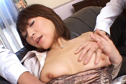 Jun Kusanagi Lovely Asian model plays in her pussy with huge dildo