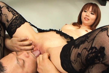 Himena Ebihara lovely Asian babe gets her shaved pussy licked