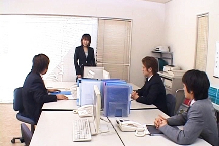 Jun Kusanagi Lovely Asian office girl gets fucked in the office by horny guys