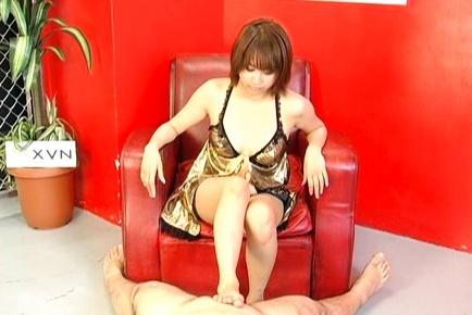 Horny babe Reimi Fujikura licks thick balls