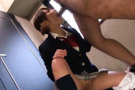 Schoolgirl with shaved pussy Ari Paipan is orally disciplined
