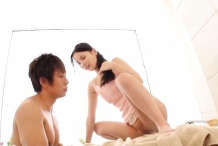 Appetizing Asian stunner Emiri Okazaki gets her shaved pussy plowed
