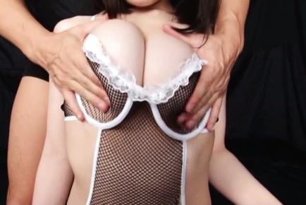 Teen chick in fishnet stockings Yuna Aoba enjoys rear penetration