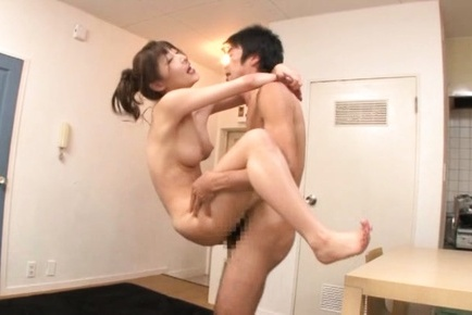 Busty Rei Aimi nailed in a rough threesome