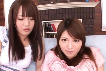 Glamorous sex dolls Azusa Akane and Eri Hosaka get pussies shaved
